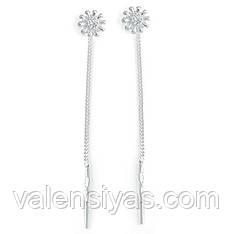 Серебряные серьги-цепочки