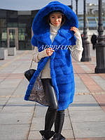 """Норковая жилетка шикарный цвет electric blue """"Natalie"""""""