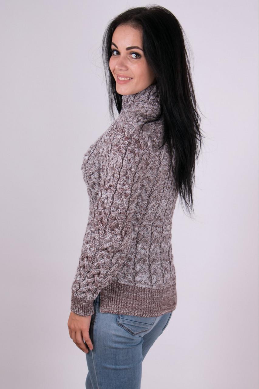 Теплый вязаный свитер крупными косами 42-46 - купить по ...