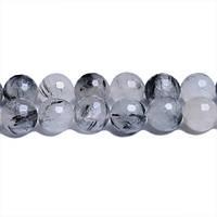 Кварц Волосатик Грань, Натуральный камень, На нитях, 8 мм, Отверстие 1 мм, кол-во: 47-48 шт/нить