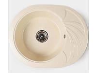 Гранитная мойка овальная 60*47 Valetti цвет старый камень серия Europe модель №13