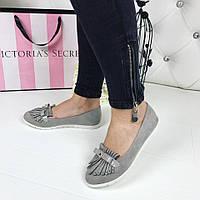 Женские туфли лоферы бантик,цвет: серый, производитель ВЕНГРИЯ