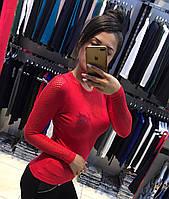 Красная женская кофта хлопок с вышивкой (реплика) Armani