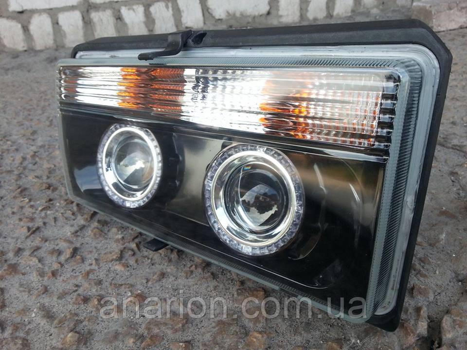 Передние фары на ВАЗ 2107 черные (Ангельские глазки белые)