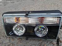 Передние фары на ВАЗ 2107 черные (Ангельские глазки)