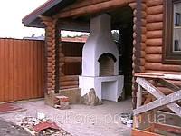 Садовая печь барбекю из кирпича, облицовка клеевой штукатуркой