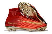 Футбольные бутсы Nike Mercurial Superfly V FG Total Crimson/Black/Metallic Gold, фото 1