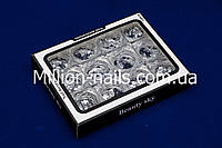 Набор конфетти для декора ногтей разного размера с голограммой , 12 шт