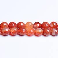 Красный Полосатый Агат, Натуральный камень, На нитях, 8 мм, Граненый Шар, Отверстие 1 мм, кол-во: 48 шт/нить