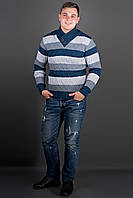 """Свитер мужской с пуговицами """"Рубин"""" р. 46-50 полоска синяя"""