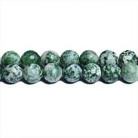 Зеленая Пятнистая Яшма, Натуральный камень, На нитях, бусины 8 мм,  Граненый Шар, кол-во: 47-48 шт/нить