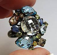 Кольцо с аметистом, сапфирами, топазами. Серебро, черная позолота