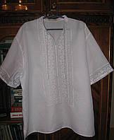 Сорочка белая лен лавсан  , сорочка ручной вышивки от производителя модель ВГ09