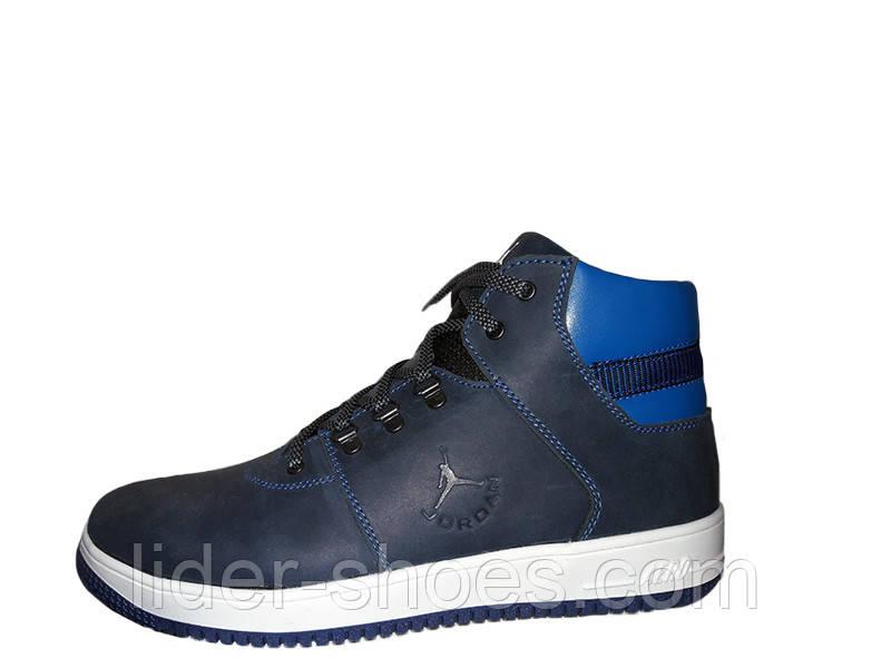 Мужские кожаные ботинки синего цвета реплика