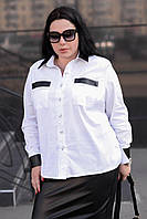 Женская белая рубашка большого размера a-t101577, фото 1