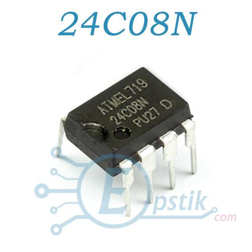 24C08N,пам'ять енергонезалежна, EEPROM 1K, DIP8