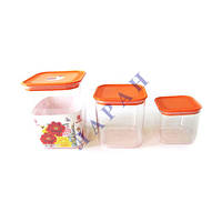 Набор квадратных пластиковых банок для сыпучих 3шт