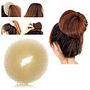 Бублик для волос XL большой d 11 см бежевый, фото 4