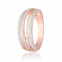 """Серебряное кольцо с камнями и позолотой """"216"""""""