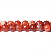 Красный Огненный Агат, Натуральный камень, На нитях, бусины 8 мм, Граненые, Отверстие 1 мм, кол-во: 48 шт/нить