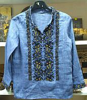 Сорочка детская цвет джинс лен   , сорочка машинной вышивки от производителя модель ВГ13
