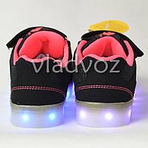 Детские светящиеся кроссовки с led подсветкой USB для девочки черные Clibee 29р., фото 2