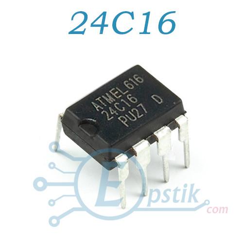 24C16, память энергонезависимая, EEPROM, DIP-8