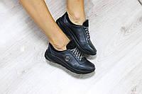 Женские кожаные кроссовки,натуральная кожа, цвет черный производитель: Украина