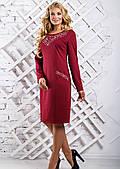 Бордовое женское платье миди