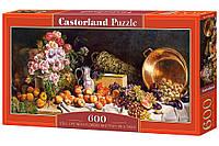 """Пазлы касторленд на 600 элементов. """"Натюрморт с цветами и фруктами на столе"""".  Панорамные."""