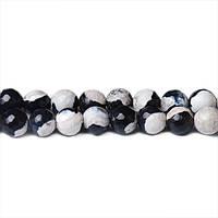 Черно-белый Агат, Натуральный камень, бусины 8 мм, Граненый Шар, Отверстие 1 мм, количество: 47-48 шт/нить