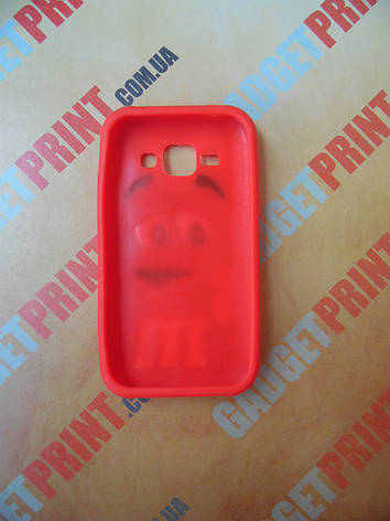 Объемный 3D силиконовый чехол для Samsung Galaxy J1 J100 M&M's красный, фото 2