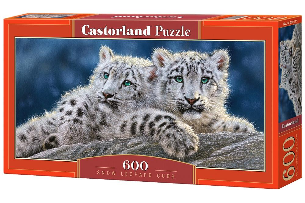 """Пазлы касторленд на 600 элементов. """"Детеныши снежного леопарда"""".  Панорамные."""