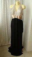 Платье в пол вечернее черное Mascara р.50-52 7616