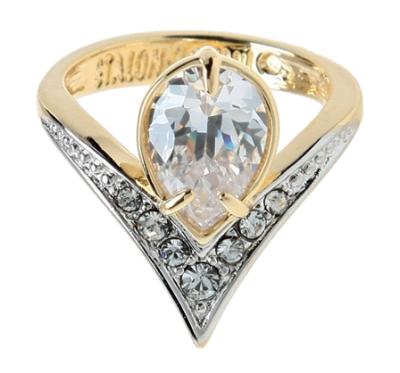"""Кольцо """"Фюрн"""" с фианитами, покрытое золотом с родием (r144q0a0)"""