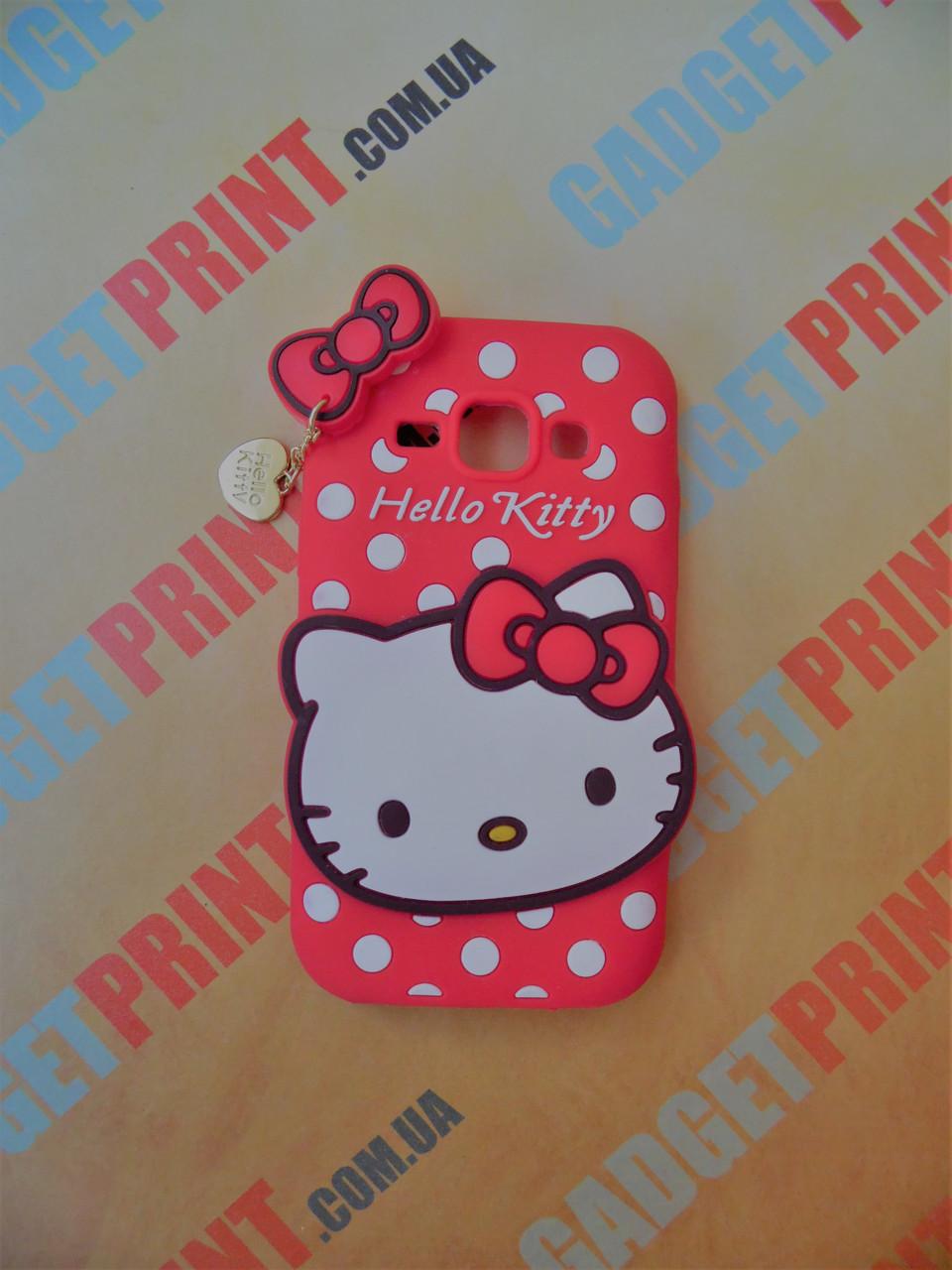 Объемный 3D силиконовый чехол для Samsung Galaxy J1 J100 Hello Kitty красная