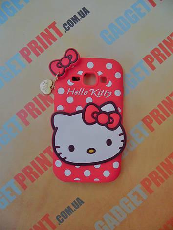 Объемный 3D силиконовый чехол для Samsung Galaxy J1 J100 Hello Kitty красная, фото 2