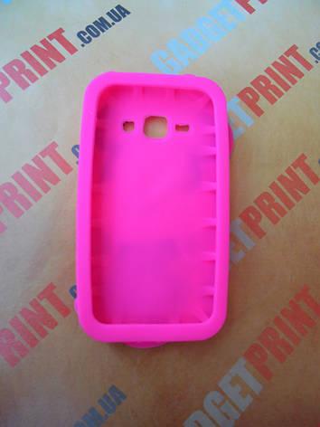 Объемный 3D силиконовый чехол для Samsung Galaxy J1 J100 Мини розовая, фото 2