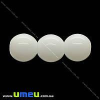 Бусина стеклянная Круглая, 8 мм, Белая, 1 шт (BUS-000954)