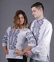 Белые вышитые рубашки для пары с растительным орнаментом
