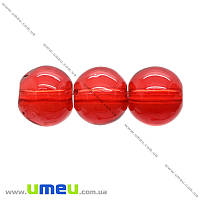 Бусина стеклянная окрашенная прозрачная, 8 мм, Красная, Круглая, 1 шт (BUS-021911)