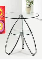 Стол журнальный СТ126 стекло, прозрачный, хром, столик журнальный, кофейный, Киев