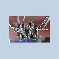 """Серебряная с цирконием  подвеска-шарм для Pandora """" Плетение"""""""