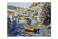 Холст Рисование по номерам 40*50см Лодка на озере в коробке