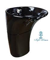 Мойка парикмахерская керамическая черная со смесителем и душем