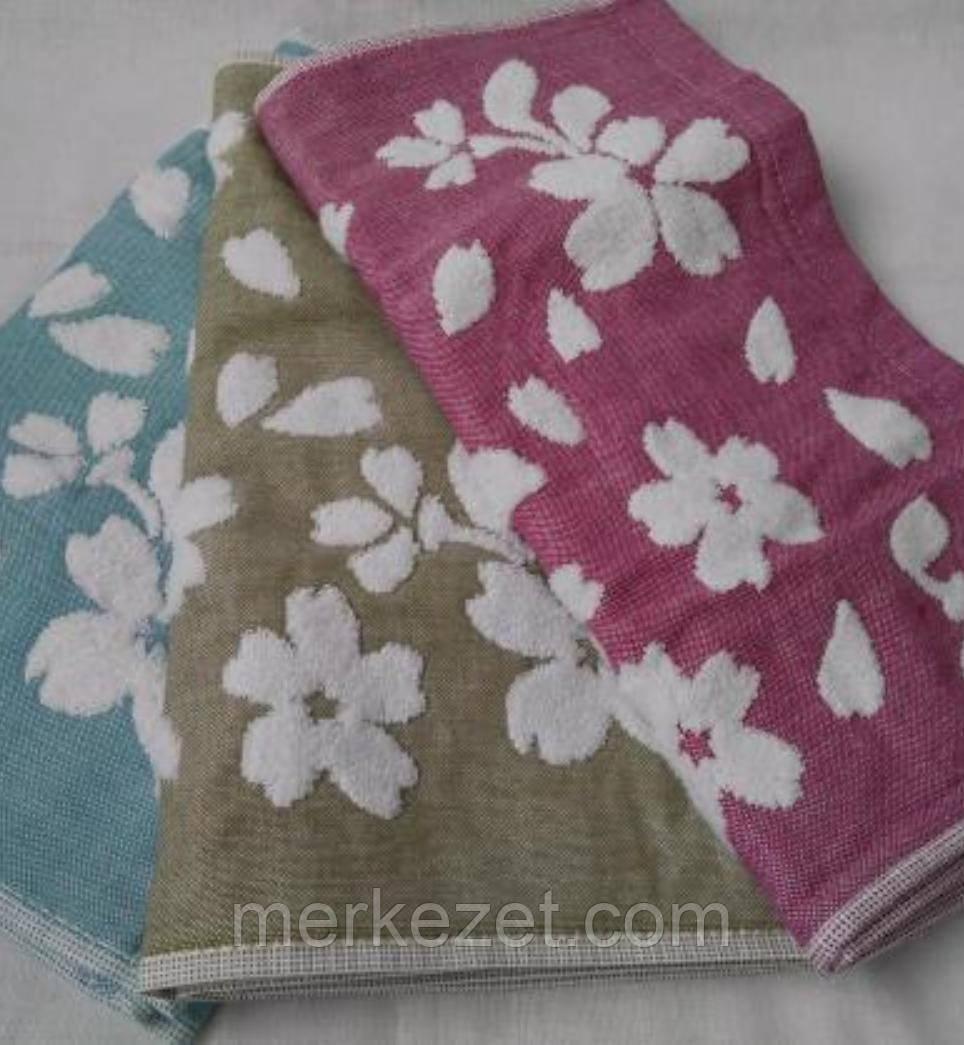"""Кухонное махровое полотенце+лен """"Роза ажур"""". Полотенца. Кухонные полотенца"""