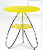 Камилла 3 (СТ126) стекло, желтый, хром, столик журнальный, кофейный, Киев