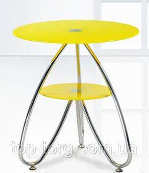 Камилла 3 (СТ126) стекло, желтый, хром, столик журнальный, кофейный