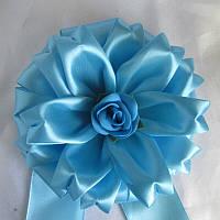 Бант на конверт для виписки з роддому та хрестини для хлопчика, яскраво-блакитний,16 см