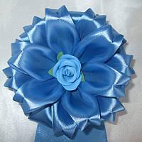 Бант на конверт для хлопчика, 16 см, світло-синій
